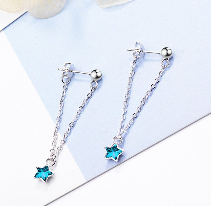 日韓時尚不對櫬女用925纯銀防過敏水晶鑽石耳環女防過敏生日禮物情人節禮物