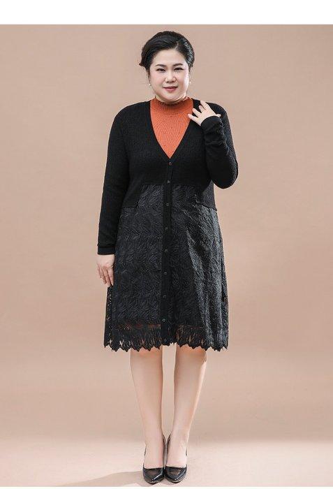 F3437 黑色中長款V領寬鬆均碼60-100公斤秋冬婆婆裝媽媽裝風衣女裝外套大尺碼大碼超大尺碼