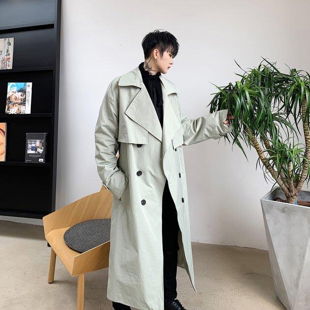 FINDSENSE 2019 秋冬上新 G19  復古大翻領系腰帶寬鬆長款風衣男裝百搭寬鬆休閒外套