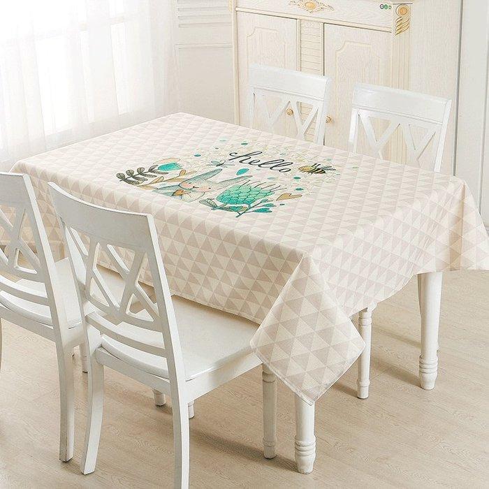 衣萊時尚兔仔桌布布藝小清新北歐餐桌布家用田園茶幾布卡通長方形臺布定做