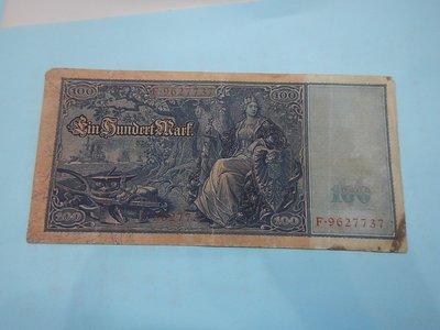 ☆孟宏館☆德國舊馬克1908年100馬克~紙鈔鈔票~H073