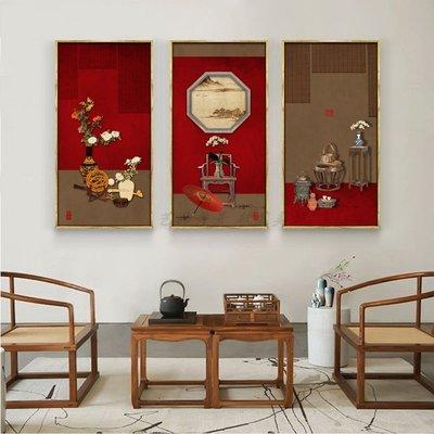 新中式禪意中國風意境建築裝飾畫畫芯玄關客廳掛畫壁畫畫心(不含框)