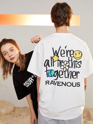 Anne運動服潮流觀止SSUR PLUS休閒聯名RAVENOUS手繪標語印運動花短袖寬松情侶T恤男女