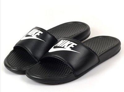 【斯伯特】NIKE BENASSI SWOOSH 黑白色GD 運動 拖鞋 基本款 勾勾 343880-090