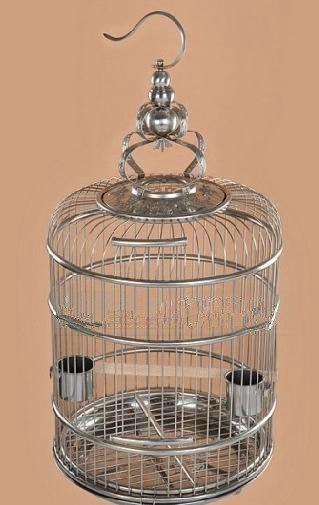 南籠天壽精工不鏽鋼鳥籠鹩哥八哥畫眉鹦鹉相思芙蓉文鳥牡丹圓籠