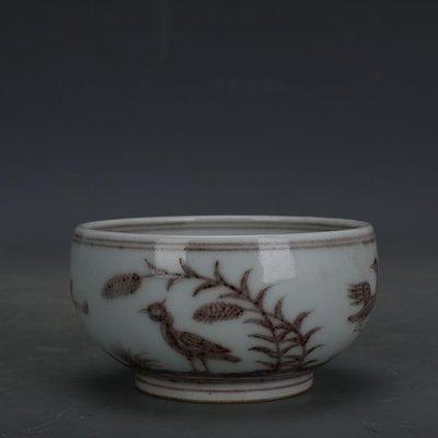 ㊣姥姥的寶藏㊣ 大明宣德手繪釉里紅花鳥紋羅漢杯  官窯出土古瓷器手工瓷古玩收藏