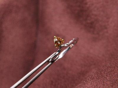 天然彩鑽 16分 愛心玫瑰車工巧克力鑽小線戒 天然鑽石 14K金鑽戒 輕珠寶 比agete份量更足 閃亮珠寶