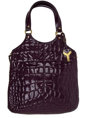 YSL181234 Tribute patent leather大型 鱷魚壓紋漆皮肩背包紫