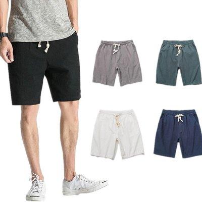 逆主流  夏季新款亞麻休閑短褲男士寬鬆沙灘棉麻五分褲棉麻中褲薄款短褲