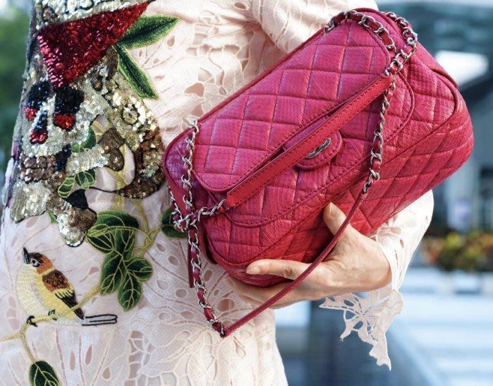 Chanel New Camera Bag 新款 蛇皮鍊帶肩背包 桃紅