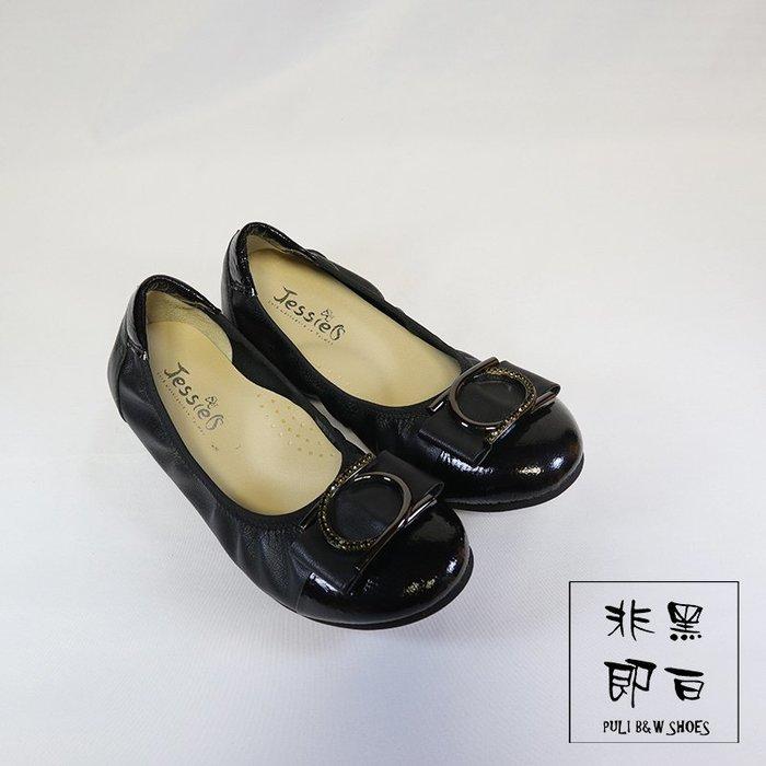 【非黑即白】MIT真皮淑女水鑽休閒平底娃娃鞋 低跟 軟Q 黑色 310398