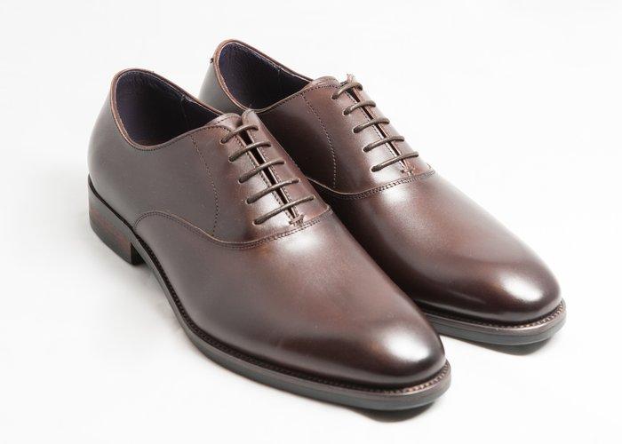 素面牛津鞋:手工上色小牛皮真皮木跟皮鞋男鞋-咖啡色-免運費-[LMdH直營線上商店]E1A17-89