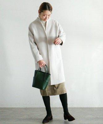Laforet.NOMBRE IMPAIR氣質圓弧立領輕量羊毛大衣外套