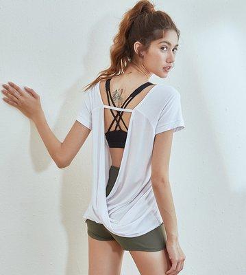 愛運動~新品運動短袖T恤/彈力薄款美背寬鬆透氣速乾/跑步健身訓練瑜伽罩衫上衣   R2686