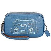 Coco小舖COACH 28684 Coach X Keith Haring Crossbody Clutch藍色斜背包