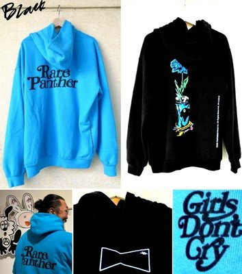 BLACK極新Rare Panther x VERDY原宿限定wasted youth GIRLS DONT CRY帽T