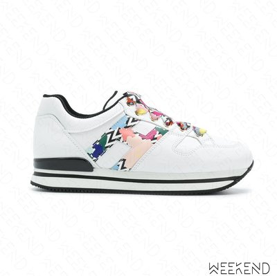 【WEEKEND】 HOGAN H222 皮革 亮片 厚底鞋 休閒鞋 白+多色 18春夏