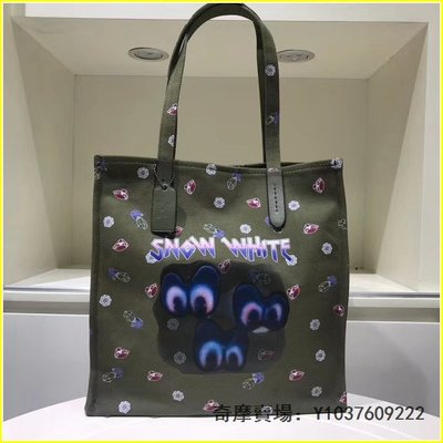 coach32719DISNEY聯名款鑽石眼睛圖案印花帆布托特包 超低直購