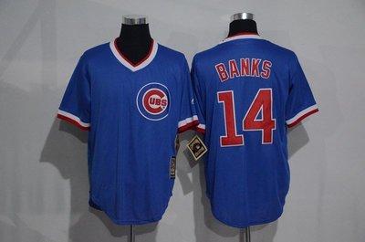 正品球衣~Cubs棒球服小熊隊球衣14號BANKS復古藍白色套頭衫短袖T恤訓練