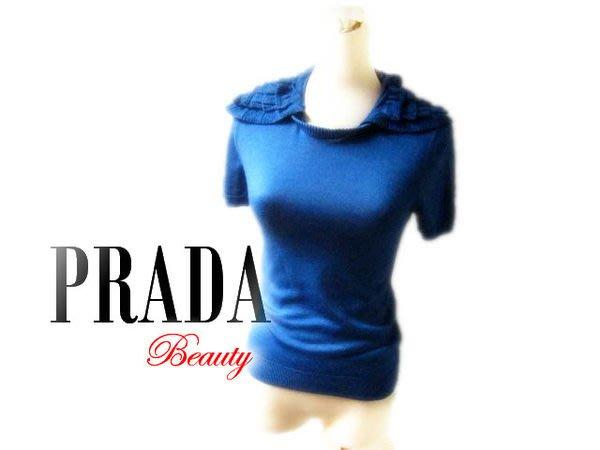 *Beauty*PRADA藍色層層荷葉滾邊領針織衫 S號 WE13