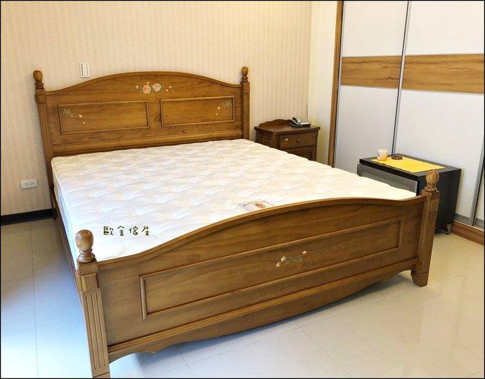 鄉村風 彩繪玫瑰花/稻穗 實木五尺床架雙人床標準床架 5*6.2另有原木單人床頭櫃加大床斗櫃衣櫥房間組【歐舍傢居】