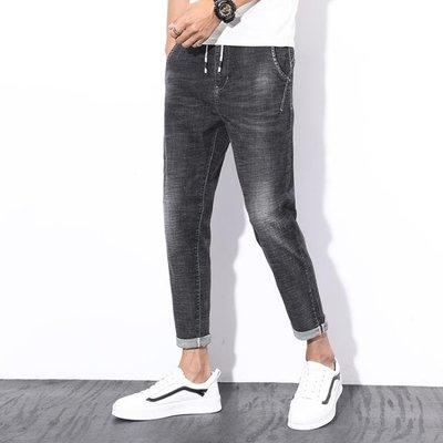 男牛仔褲窄管褲系帶松緊九分褲百搭男裝哈倫褲韓版t536