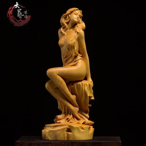 5Cgo【茗道】含稅會員有優惠 539051368711 黃楊木雕實木藝術雕手把件雕刻工藝品中式家居客廳書房茶道車載飾品