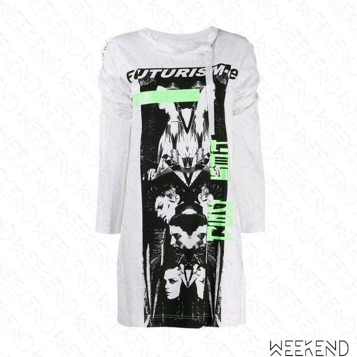 【WEEKEND】 DIESEL T-Emiko 開岔 印圖 長袖 寬鬆 長版 T恤 白色