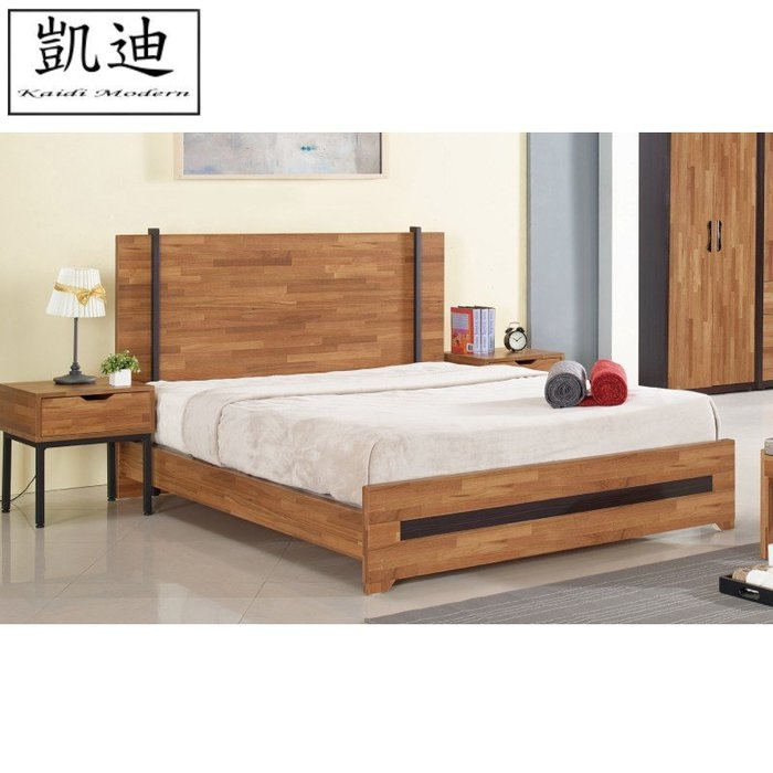 【凱迪家具】M3-023-1 亞瑟5尺柚木集層雙人床(不含床墊)/桃園以北市區滿五千元免運費/可刷卡