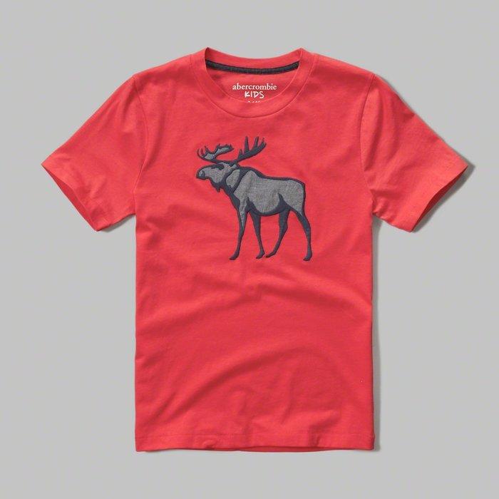 Maple麋鹿小舖 abercrombie&fitch * A&F 男童款電繡貼布麋鹿短T*( 現貨 )