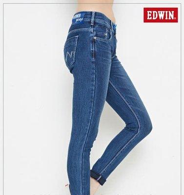 Look 鹿客 EDWIN  JERSEYS迦績窄管直筒褲-女款 原藍磨147452-001