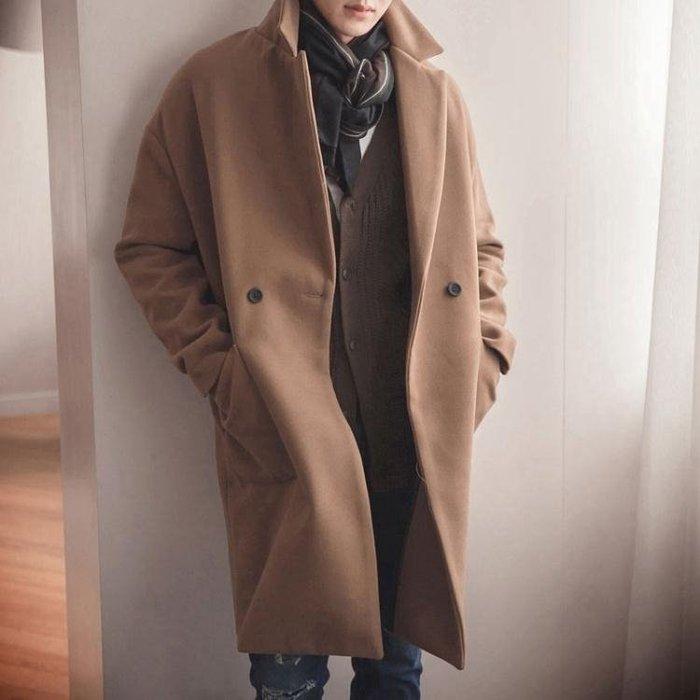 冬季青年呢子大衣正韓潮流純色男風衣中長款毛呢外套休閒-小精靈生活館