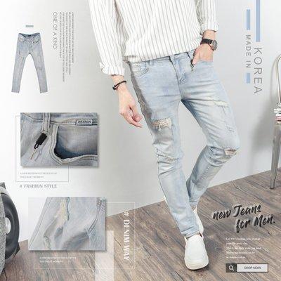 。SW。【K91682】正韓PE 韓國製 修身 淺藍抽鬚古著刷色 彈性佳彈性單寧布 觸感舒適 窄版 彈性牛仔褲 英倫GD