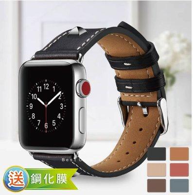 Apple watch 1 2 3 4 代 38 42 mm 真皮 皮革 鉚釘 皮質 錶帶 替換帶 表帶
