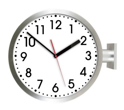 [On Loft]-double sided clock歐洲雙面鐘 高鐵 車站鐘 設計旅店咖啡店-15寸銀色雙面數字款