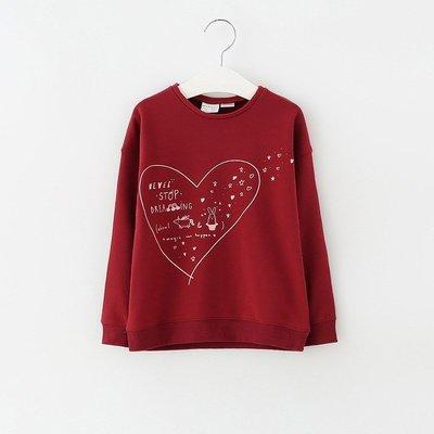【Mr. Soar】 A5017 春季新款 歐美style童裝女童暗紅色愛心長袖上衣 現貨