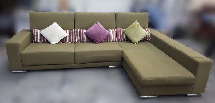 宏品二手家具館 台中全新中古家具拍賣 A011606*亞麻綠L型布沙發* 客廳桌椅 電視櫃 滿千送百豐富喜悅新竹台北