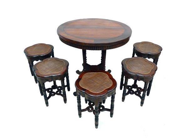 【景徽軒古傢俬】~~~(老件) 老酸枝滬式 葵瓣型 圓桌椅組 一桌六凳  6件/套 K1085