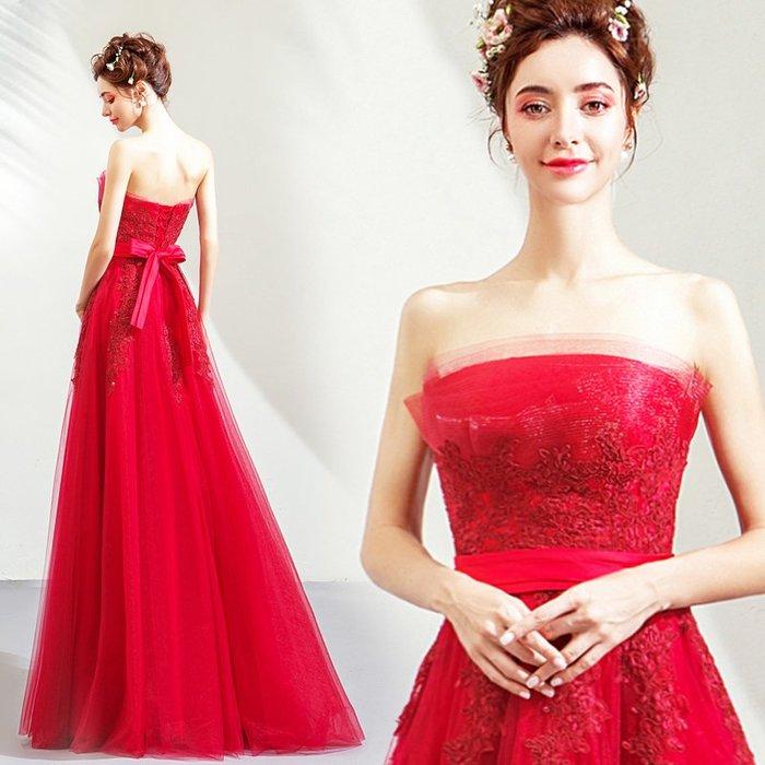 新年婚禮禮服婚紗禮服宴會禮服夢幻紅色抹胸新娘結婚敬酒服婚禮答謝宴婚紗禮服