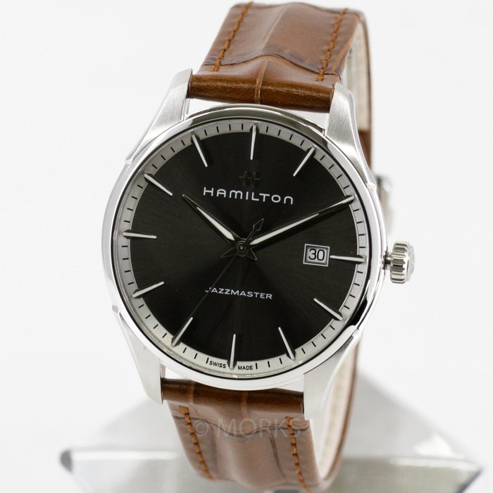 現貨 可自取 HAMILTON 漢米爾頓 H32451581 手錶 40mm 爵士系列 灰面盤 咖啡皮錶帶 男錶女錶