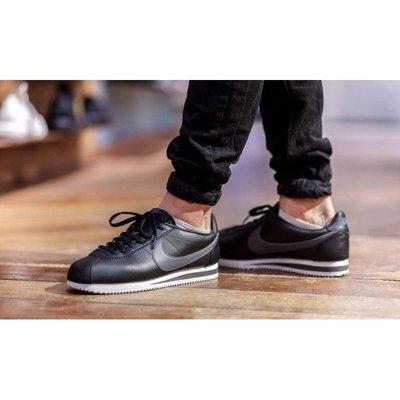 Nike Classic Cortez Leather 皮革 阿甘 慢跑鞋 749571-011 男女鞋 黑灰