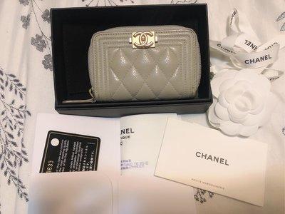 Chanel boy 灰色荔枝皮經典款菱格紋零錢包卡包(有台灣購證) 台中市