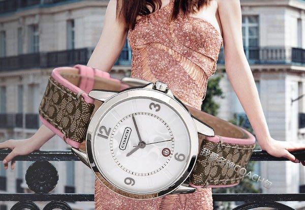 我愛名牌COACH包 美國100%正品【清倉低價出售購買兩件免運】潮流 時尚 帆布錶帶 圓形 女錶
