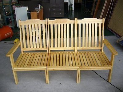 樂居二手家具 台中庫存傢俱 *全新3人座木頭沙發椅 客廳桌椅 木板椅 泡茶桌椅 戶外休閒桌椅