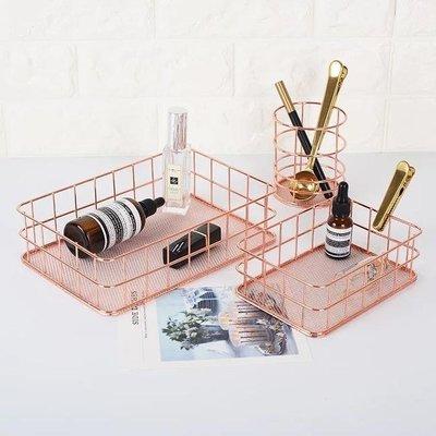 北歐風 鐵藝 玫瑰金 金屬籃(大) 收納籃 收纳盒 收納架 鐵架 鐵籃 小物收納 【午安。小姐】