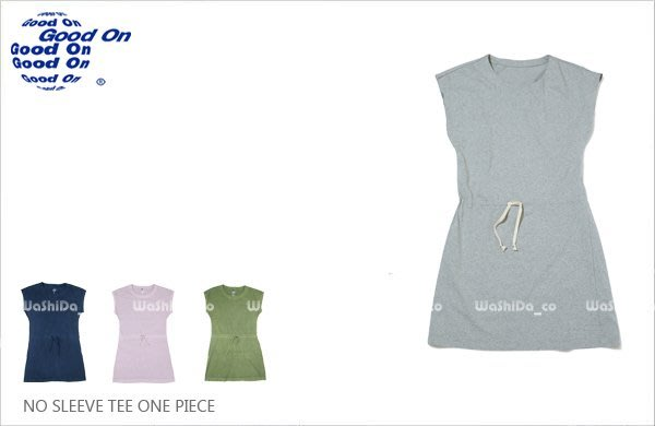 WaShiDa 女裝 Good On 日本品牌 自然 色落 無袖 腰身 鬆緊 長板 ONE PIECE 洋裝 T恤