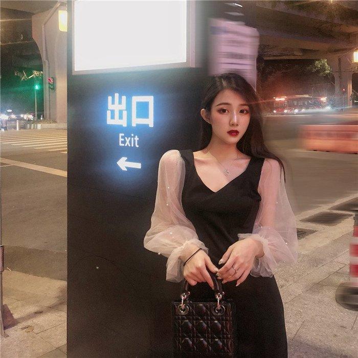 [C.M.平價精品館]新品特價/S~XL性感V領修飾臉型修身顯瘦美麗珍珠透明紗長袖洋裝