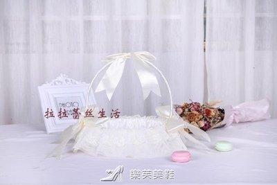 【蘑菇小隊】婚禮花童撒花小花籃 結婚慶裝飾用品 伴娘手提蕾絲撒花瓣花籃-MG2791