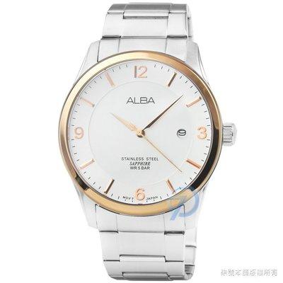 【柒號本舖】ALBA雅柏藍寶石石英男錶-金框白面 # AS9C92X1 (台灣公司貨)