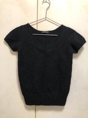 ❤夏莎shasa❤日本品牌la chambre dine黑色羊毛V領氣質短袖上衣/i.n.e副牌/基本款